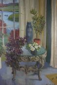 "Anne Carrick (Scottish 1919-2005) ""Plant Table by the Tweed"" Oil on Board, 68cm x 50cm, Signed to"