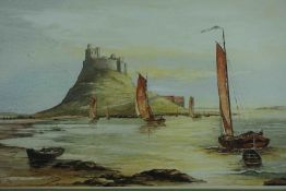 "J Urwin (British) ""Fishing Boats at Bamburgh Castle"" Watercolour, Signed and Dated 82, 29 x 48."