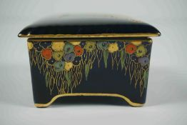 Carlton Ware Box with Cover, Decorated with Enamel Birds on a Blue ground, 4cm high, 8.5cm
