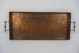 Arts & Crafts Copper Tray, Possibly Keswick School, Decorated with impressed panels of Stylised