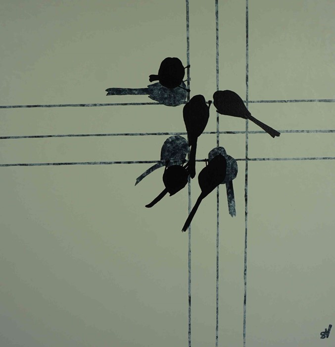 """Lot 44 - Sandra Vick (British, B.1968) """"Long-tailed Tits at the Feeder"""", acrylic on canvas, initials to lower"""
