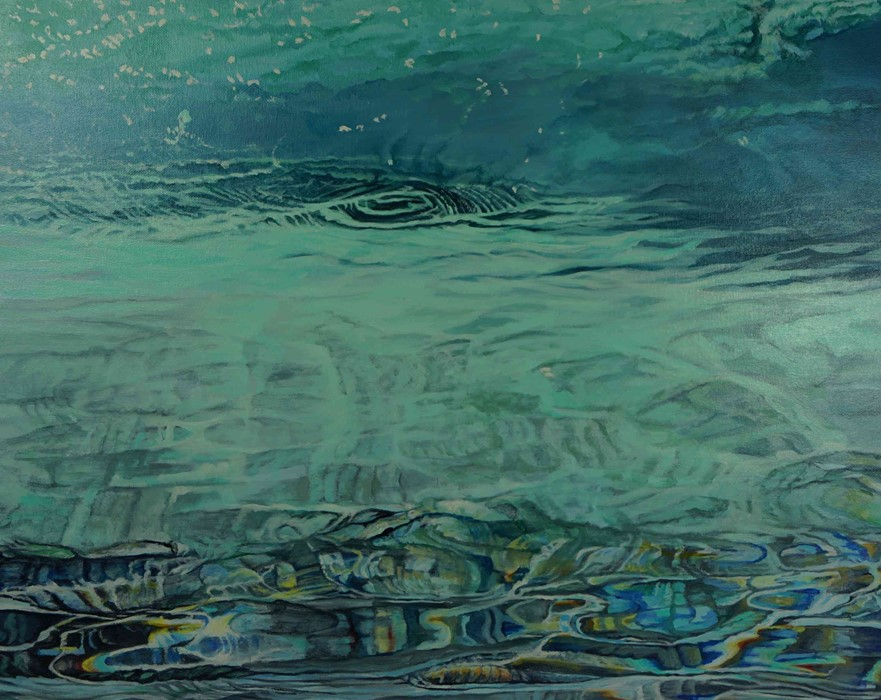 """Lot 42 - Neville Storer B Ed(Hons) (British, B.1948) """"Crystal Water"""", oil on canvas, signed to lower right,"""