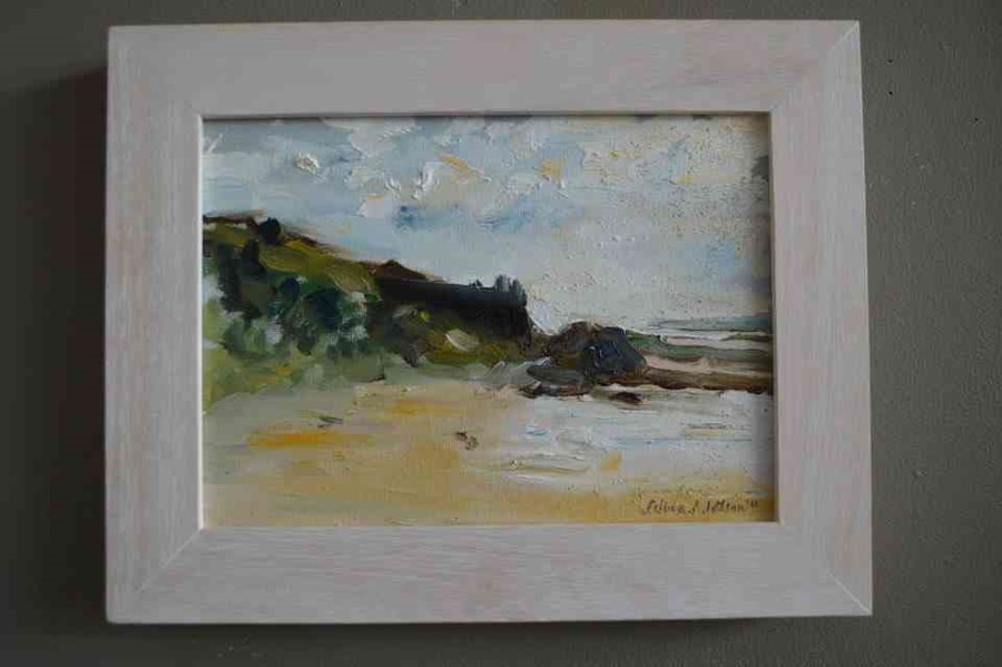 """Selina Wilson (British, B.1986) """"Gullane Beach"""", oil on canvas, signed to lower right, signed and - Image 6 of 7"""