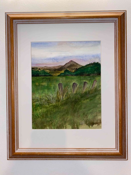 """Lot 47 - Anne White (Scottish, B.1960) """"Rubers Law"""" watercolour, signed to lower right, 23.5cm x 19cm (Framed"""