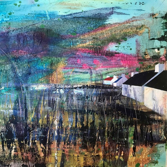 "Lot 40 - Fiona Matheson BA(Hons) (Scottish, B.1964) ""Four Houses"", mixed media, signed to lower left,"