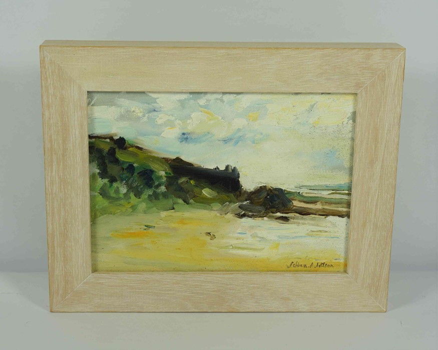 """Selina Wilson (British, B.1986) """"Gullane Beach"""", oil on canvas, signed to lower right, signed and - Image 2 of 7"""
