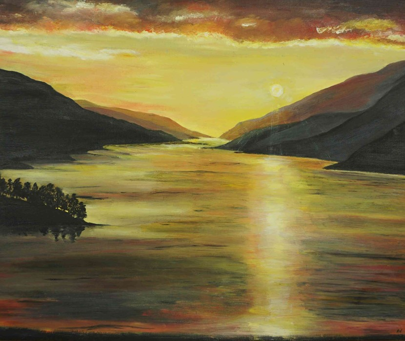 """Lot 32 - Anne White (Scottish, B.1960) """"Sunset over Loch Shiel"""" oil, signed to lower right, 51cm x 58cm ("""