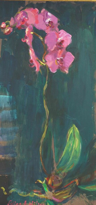 """Selina Wilson (British, B.1986) """"Pink Orchid"""", acrylic on board, signed to lower left, signed and"""