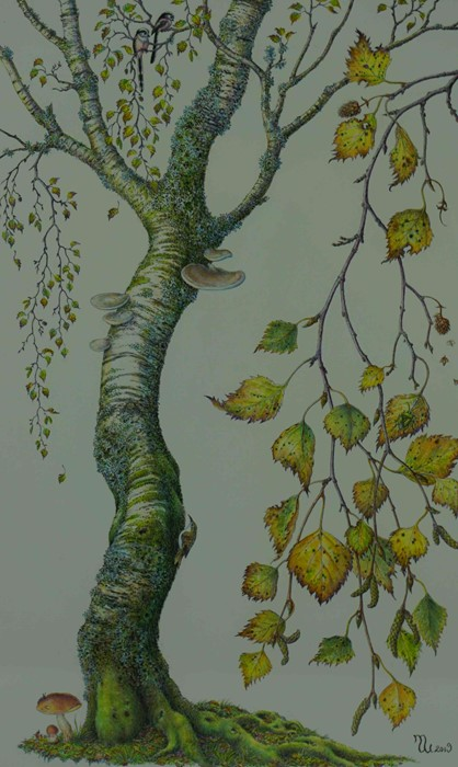 """Lot 52 - Margaret Walty (British, B.1952) """"Autumn Birch"""", acrylic on paper, initials and dated 2019 to"""