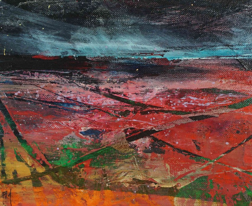 """Fiona Matheson BA(Hons) (Scottish, B.1964) """"Crimson Fields"""", oil on board, signed with artist - Image 3 of 5"""