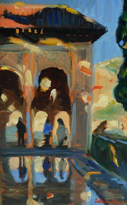 "Selina Wilson (British, B.1986) ""Alhambra Palace Gardens"", oil on canvas panel, signed to lower"