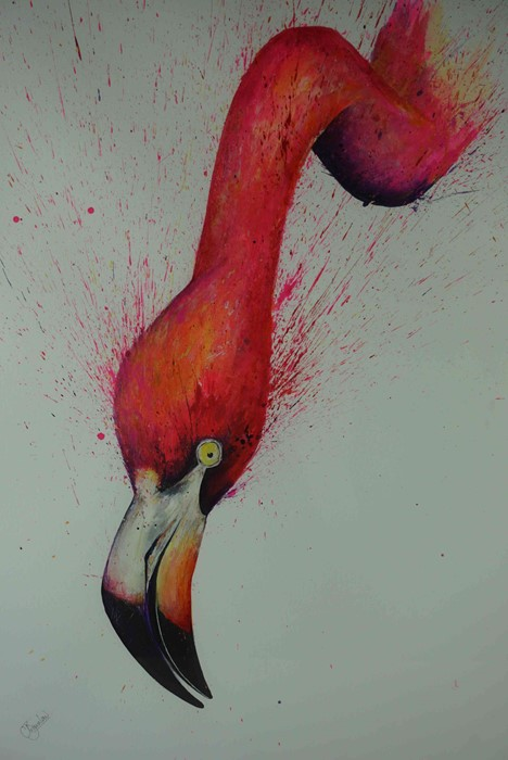 "Lot 24 - Clare Brownlow (British, B.1983) ""Flamingo"", pheasant feathers & ink, signed to lower left, 53cm x"