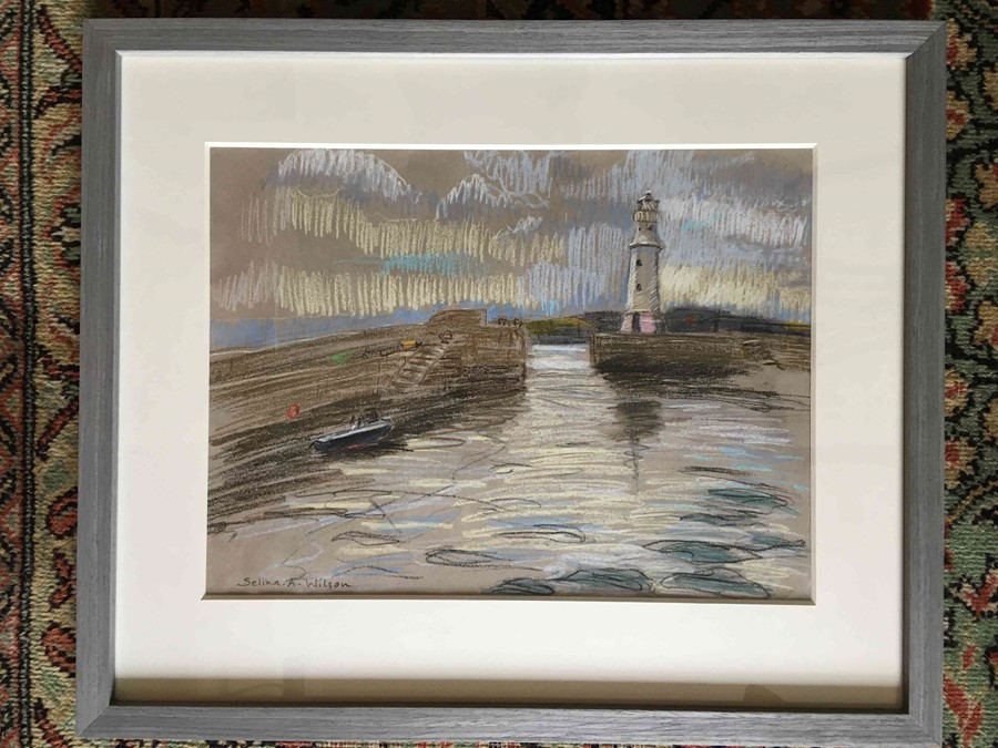 "Lot 9 - Selina Wilson (British, B.1986) ""Newhaven Quay, Edinburgh"", pastel on paper, signed to lower left,"