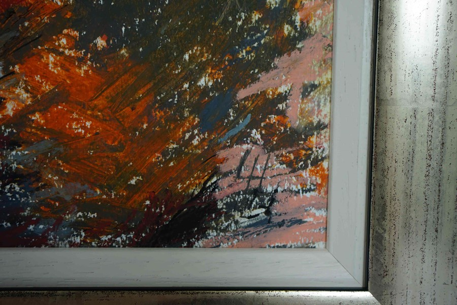 "Lot 22 - Lida Hatrick (Czech/Scottish, B.1950) ""Greenlaw Moor"", oil pastel & oil on board, initials to"