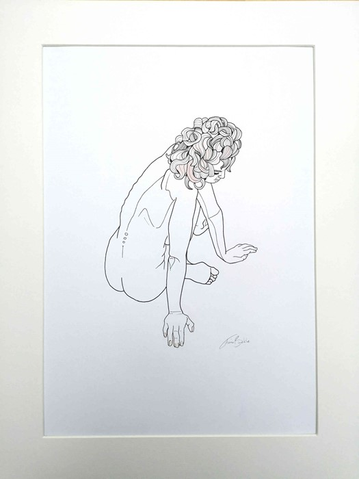 "Lot 16 - Fiona Buckle BA (Hons) (Scottish, B.1987) ""Nude With Curly Hair"", pen & watercolour on paper in card"
