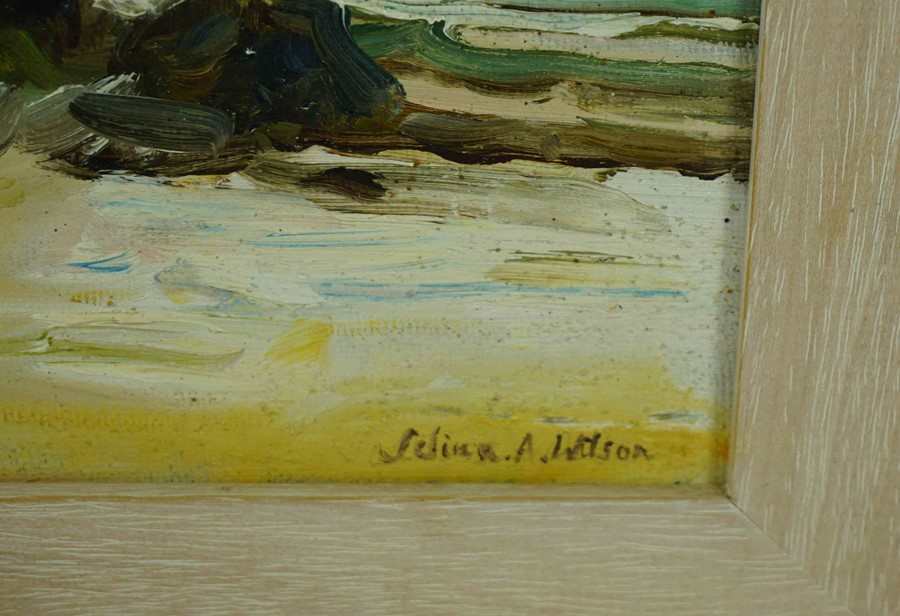 """Selina Wilson (British, B.1986) """"Gullane Beach"""", oil on canvas, signed to lower right, signed and - Image 3 of 7"""
