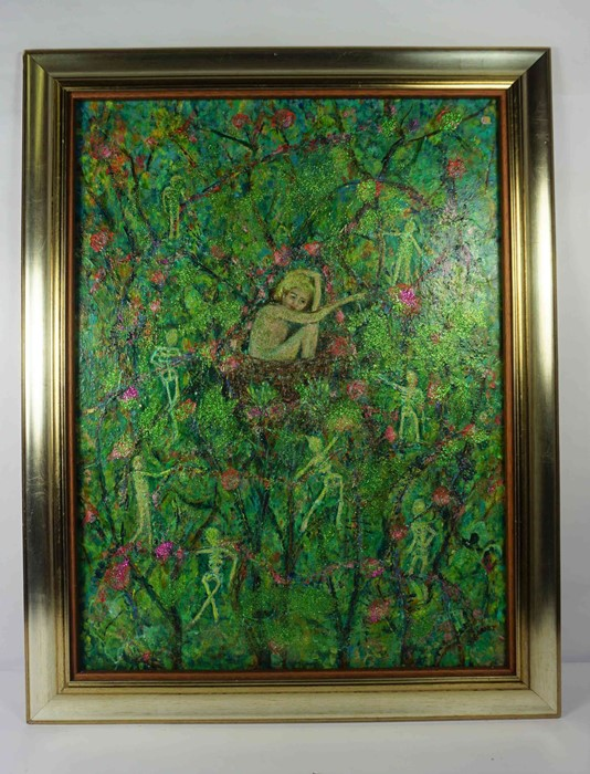 "Lot 55 - Julie Barnes (British, B.1970) ""Renewal"", mixed media, signed to lower right, artist label to"