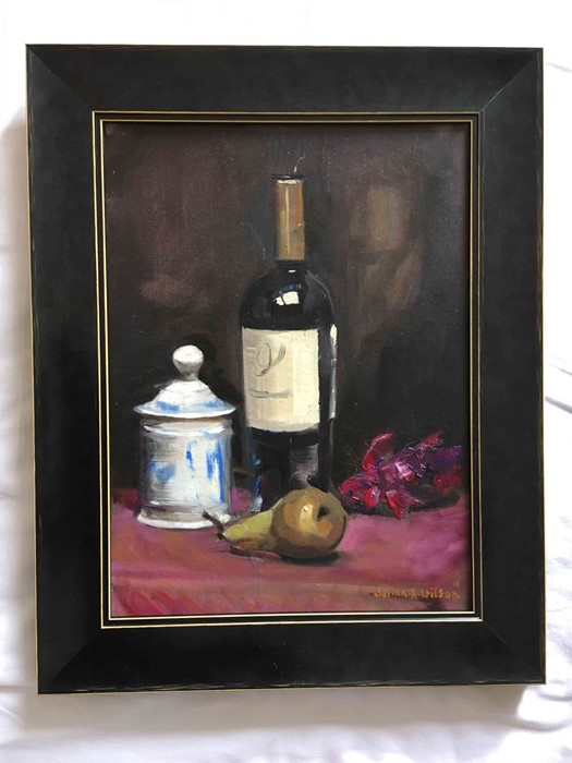 """Lot 2 - Selina Wilson (British, B.1986) """"Pear and Wine"""", oil on canvas, signed and dated '15 to lower right,"""
