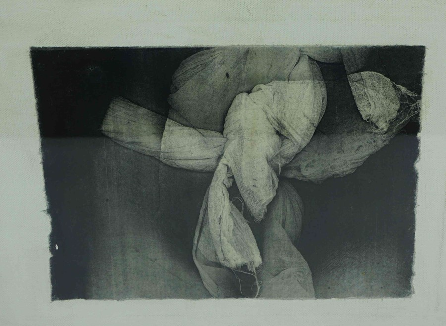 "Lot 4 - Denise Zygadlo SSA BA(Hons) (British, B.1954) ""Loincloth III"", transfer print on linen, signed,"