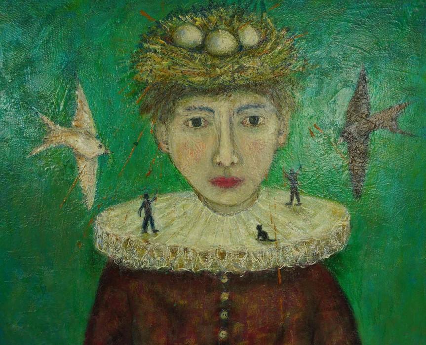"""Lot 48 - Julie Barnes (British, B.1970) """"Fragility"""", oil on canvas, signed to lower left. (Framed 75cm x"""