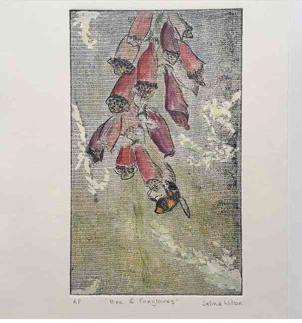 """Lot 61 - Selina Wilson (British, B.1986) """"Bee and Foxgloves"""", etching, aquatint with watercolour, signed to"""
