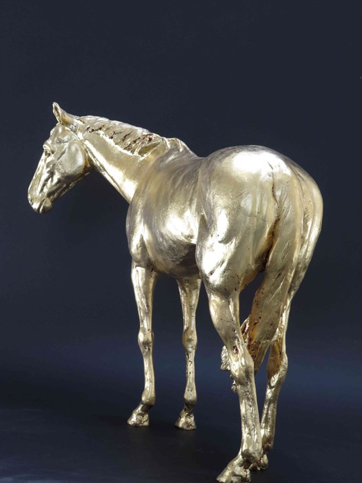 "Frippy Jameson (British, B.1978) ""Racehorse in Gold II"", 24 Carat European gold leaf bronze, - Image 3 of 5"