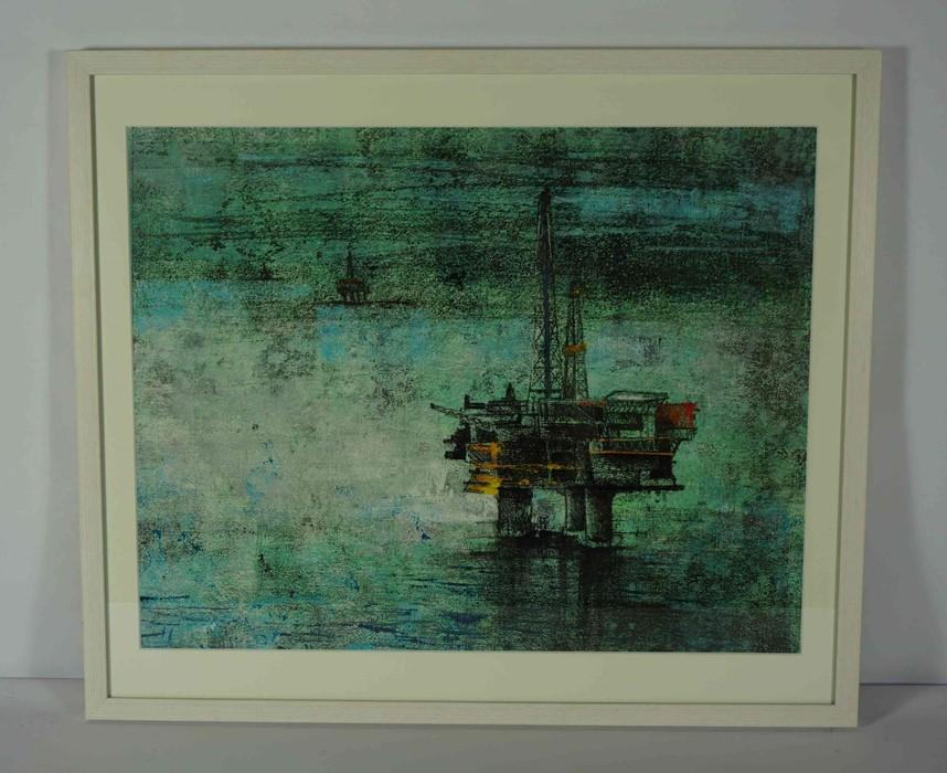 "Lot 38 - Georgina Bown SSA (British, B.1965) ""Oil Rigg 3"", mono print, artist label to verso. 45cm x 58cm ("