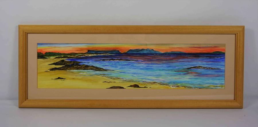 """Lot 35 - Anne White (Scottish, B.1960) """"Blazing Sky, Arisaig"""" watercolour, signed to lower right, 15cm x 61cm"""