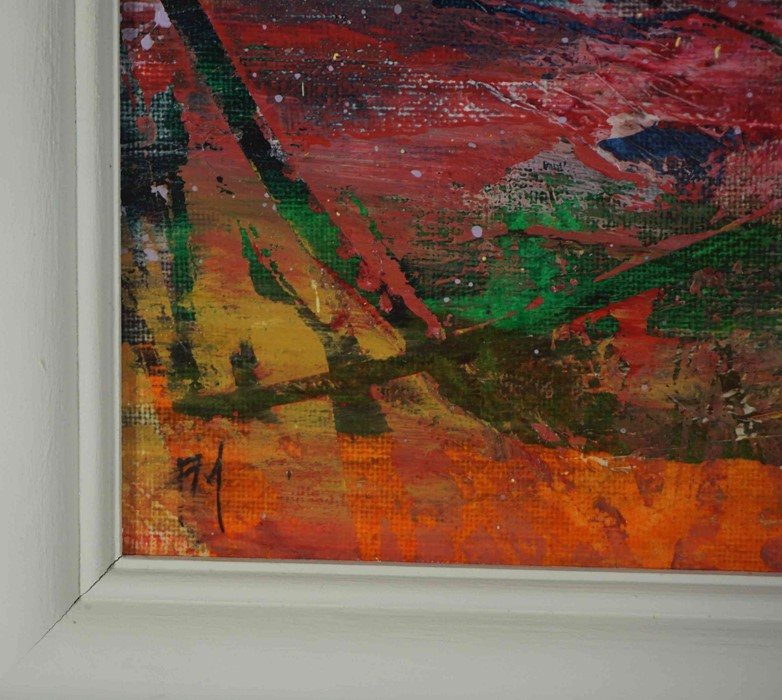 """Fiona Matheson BA(Hons) (Scottish, B.1964) """"Crimson Fields"""", oil on board, signed with artist - Image 4 of 5"""