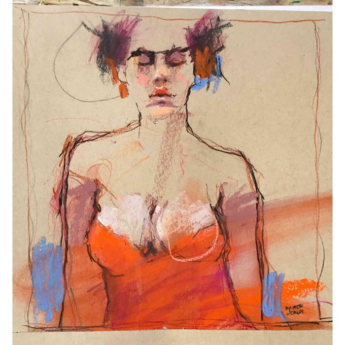 "Lot 3 - Derek Jones (English, B.1945) ""Red"", mixed media, signed to lower right, 26cm x 26cm (Framed 43cm"
