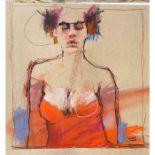"Derek Jones (English, B.1945) ""Red"", mixed media, signed to lower right, 26cm x 26cm (Framed 43cm"