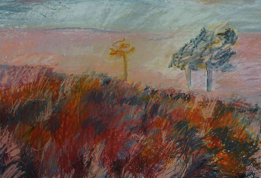 """Lida Hatrick (Czech/Scottish, B.1950) """"Greenlaw Moor"""", oil pastel & oil on board, initials to - Image 3 of 5"""