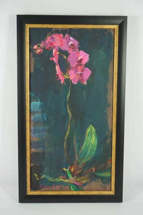 """Selina Wilson (British, B.1986) """"Pink Orchid"""", acrylic on board, signed to lower left, signed and - Image 2 of 6"""