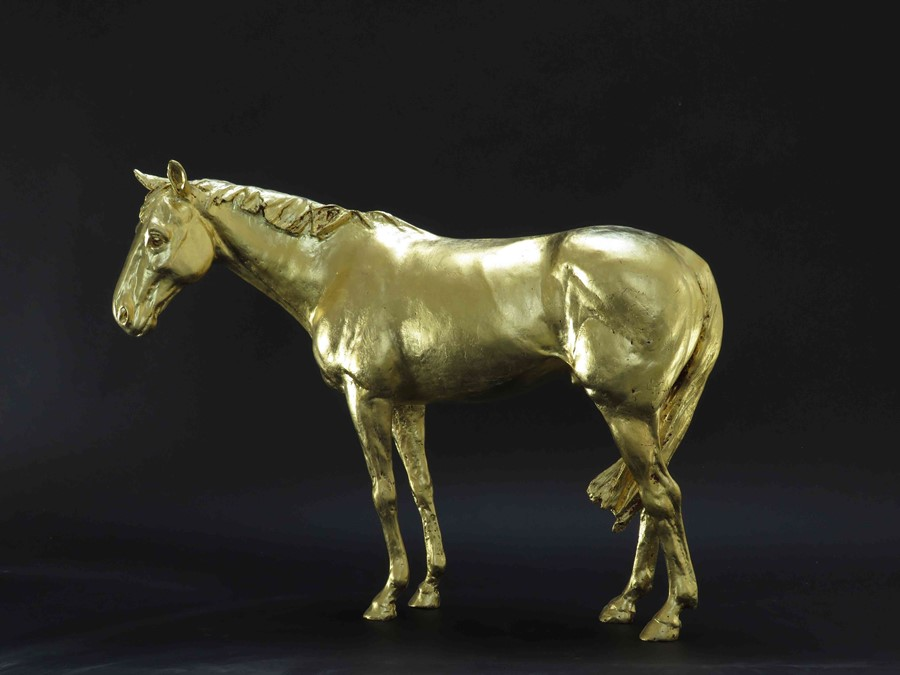 "Lot 34 - Frippy Jameson (British, B.1978) ""Racehorse in Gold II"", 24 Carat European gold leaf bronze,"