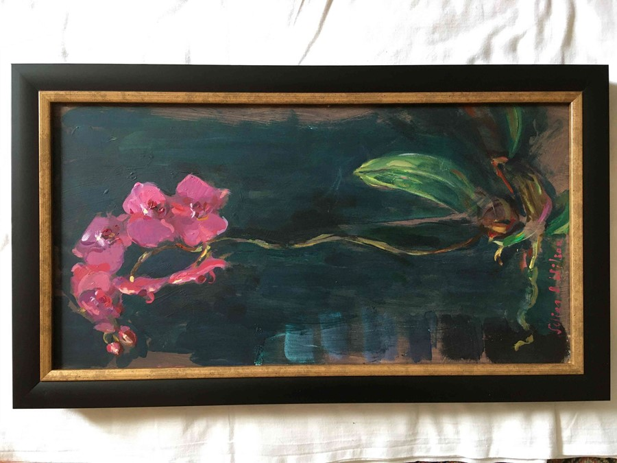 """Selina Wilson (British, B.1986) """"Pink Orchid"""", acrylic on board, signed to lower left, signed and - Image 6 of 6"""