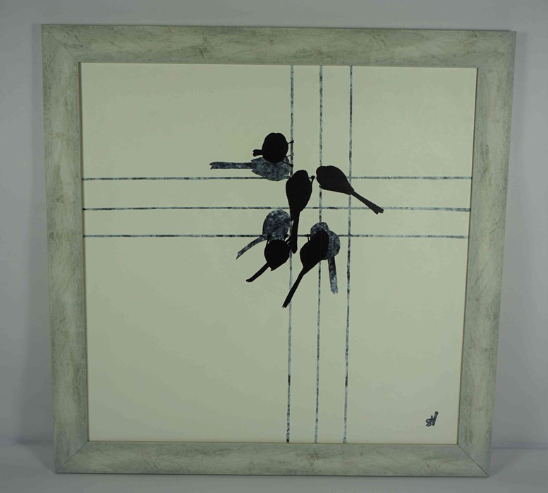 """Sandra Vick (British, B.1968) """"Long-tailed Tits at the Feeder"""", acrylic on canvas, initials to lower - Image 2 of 5"""