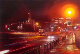 "Lesley Anne Derks BA(Hons) (British, B.1977) ""Waverley Bridge - Night"", oil & enamel on canvas,"