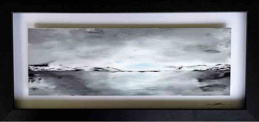 "Lot 8 - Ken Cowins (English, B.1955) ""Morning Glow"", acrylic on glass, signed lower right on border,"