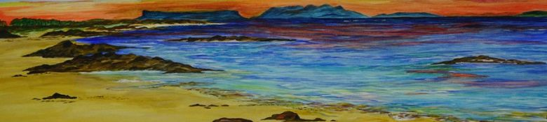 "Anne White (Scottish, B.1960) ""Blazing Sky, Arisaig"" watercolour, signed to lower right, 15cm x 61cm"