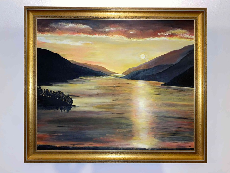 """Anne White (Scottish, B.1960) """"Sunset over Loch Shiel"""" oil, signed to lower right, 51cm x 58cm ( - Image 4 of 4"""