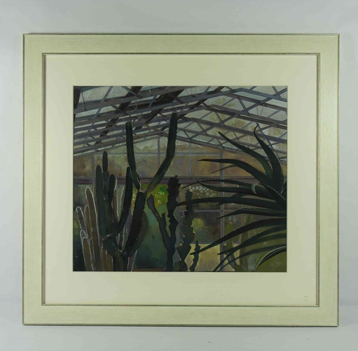 """Lot 62 - John Nicholson N.D.D (British, B.1944) """"Cacti"""", mixed media, signed to lower right, titled in pencil"""