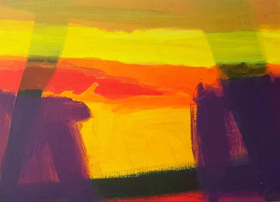"Lot 18 - Stephen Ratomski DA Edin (Scottish, B.1948) ""Summer Arch"", acrylic on paper, signed to lower"