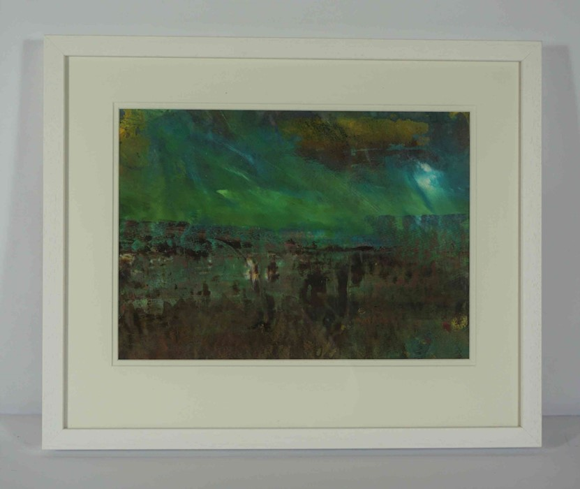"Fiona Matheson BA(Hons) (Scottish, B.1964) ""Peaty Fields"", mixed media, signed to lower right, - Image 2 of 5"
