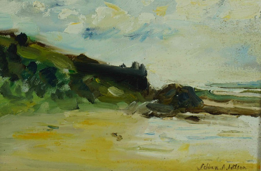 """Selina Wilson (British, B.1986) """"Gullane Beach"""", oil on canvas, signed to lower right, signed and"""