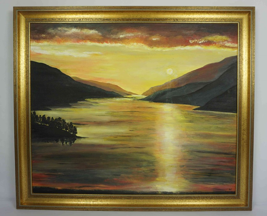 """Anne White (Scottish, B.1960) """"Sunset over Loch Shiel"""" oil, signed to lower right, 51cm x 58cm ( - Image 2 of 4"""