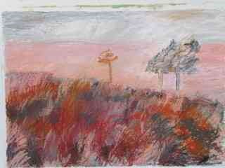 "Lida Hatrick (Czech/Scottish, B.1950) ""Greenlaw Moor"", oil pastel & oil on board, initials to"