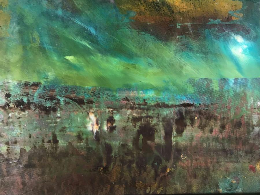 "Lot 27 - Fiona Matheson BA(Hons) (Scottish, B.1964) ""Peaty Fields"", mixed media, signed to lower right,"