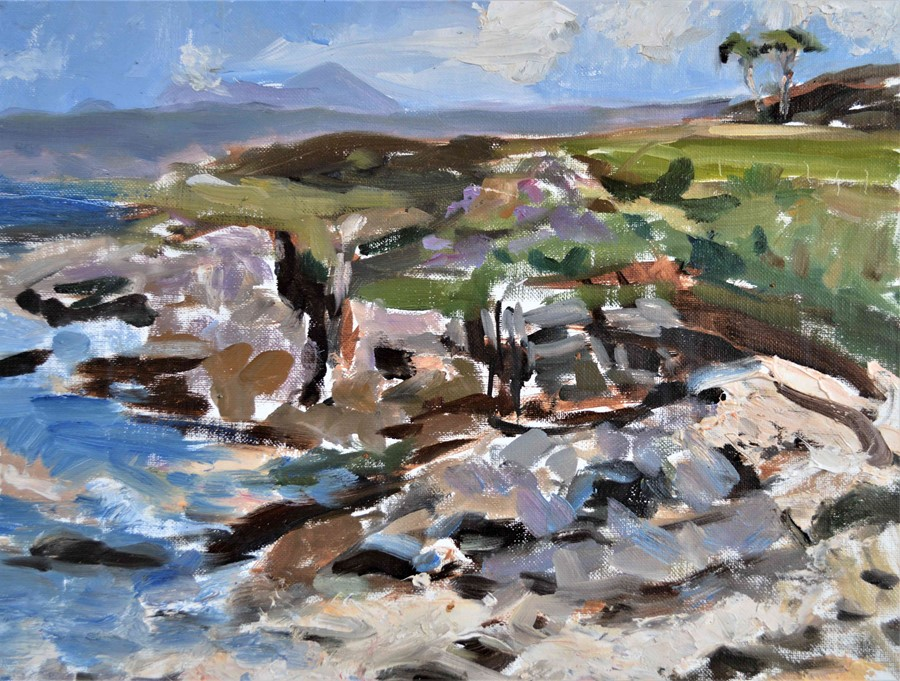 """Lot 45 - Selina Wilson (British, B.1986) """"Looking Towards Camusdarach"""", oil on canvas panel, signed to"""