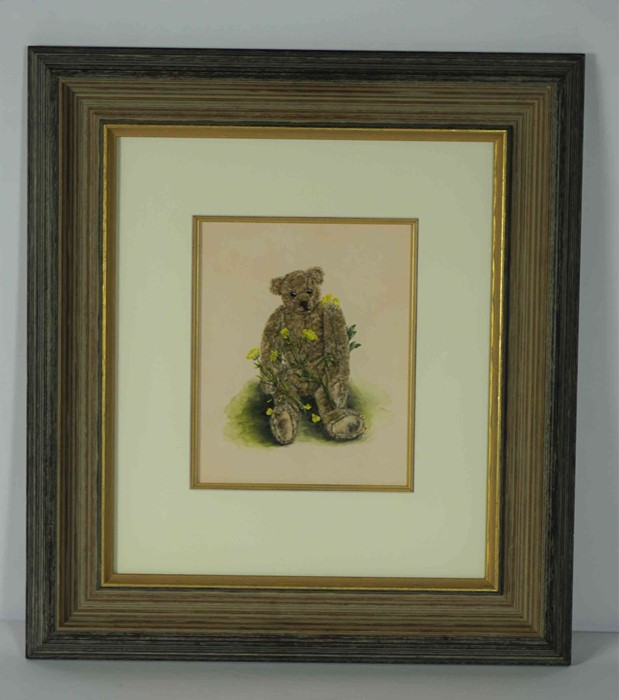 "Lot 25 - Jane Harbottle (British, B.1963) ""Humphrey Buttercup Bear"", gouache on watercolour board, signed,"