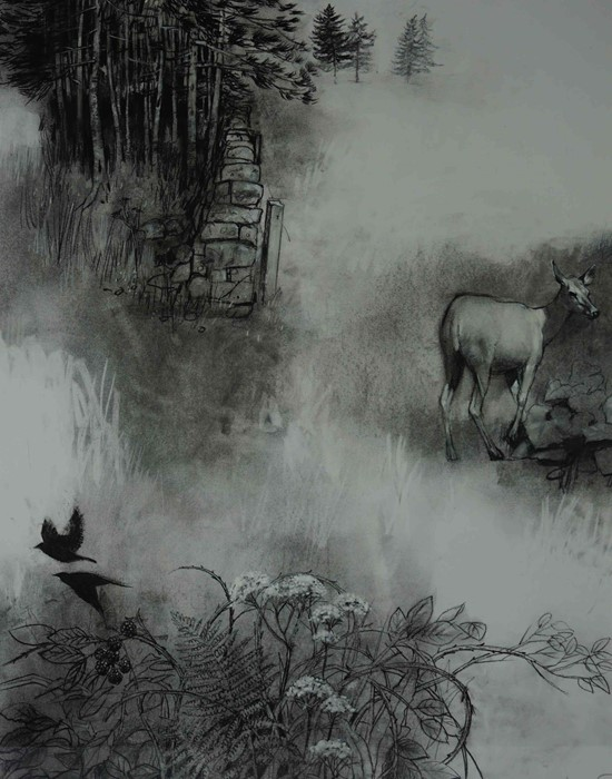 "Lot 21 - George Donald RSA RSW (Scottish, B.1943) ""Edge Of The Moor"", charcoal & conte on board, signed to"
